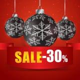 Venda do inverno 30 por cento Venda do inverno com fundo vermelho Venda W Fotografia de Stock