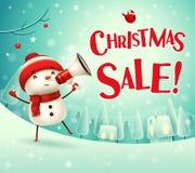 Venda do Natal! Boneco de neve alegre com o megafone na paisagem do inverno da cena da neve do Natal ilustração stock