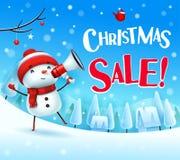 Venda do Natal! Boneco de neve alegre com o megafone na paisagem do inverno da cena da neve do Natal ilustração royalty free