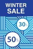 Venda do Natal Cartaz relativo à promoção com teste padrão geométrico abstrato Até 30%, 50% fora ilustração do vetor