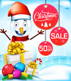 Venda do Natal com caráter do boneco de neve no fundo nevado Imagem de Stock Royalty Free