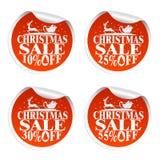 Venda do Natal com etiquetas Santa e cervos 10,25,30,55 por cento ilustração do vetor