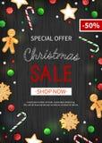 Venda do Natal da oferta especial Inseto vertical do disconto, venda sazonal grande Bandeira da Web com doces do feriado ilustração royalty free