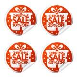 Venda do Natal etiquetas de 10,20,30,40 por cento com caixa ilustração royalty free