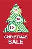 Venda do Natal Fundo com a árvore verde abstrata Até 20%, 30%, 50% fora ilustração do vetor