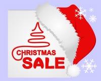 Venda do Natal no quadro branco com o tampão do ` s de Santa ilustração do vetor