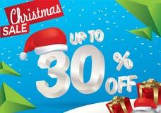 Venda do Natal 30 por cento Fundo da venda do inverno com texto do gelo 3d com a bandeira e a neve de Papai Noel do chapéu Venda  ilustração royalty free
