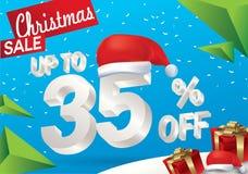 Venda do Natal 35 por cento Fundo da venda do inverno com texto do gelo 3d com a bandeira e a neve de Papai Noel do chapéu Venda  ilustração stock