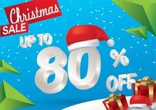 Venda do Natal 80 por cento Fundo da venda do inverno com texto do gelo 3d com a bandeira e a neve de Papai Noel do chapéu Venda  ilustração royalty free