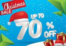 Venda do Natal 70 por cento Fundo da venda do inverno com texto do gelo 3d com a bandeira e a neve de Papai Noel do chapéu Venda  ilustração stock
