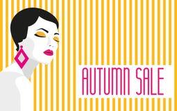 VENDA do outono bandeira Menina da forma Estilo corajoso, mínimo Pop art OpArt, espaço negativo positivo e cor trendy Foto de Stock