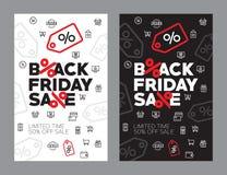 Venda do outono ilustração de um vetor de cinqüênta por cento Discontos no preto sexta-feira da loja ilustração stock