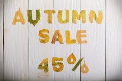 Venda do outono 45 por cento Imagens de Stock