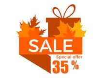 Venda do outono, um disconto de 35 por cento Fita com folhas amareladas e uma caixa de presente Vetor ilustração royalty free