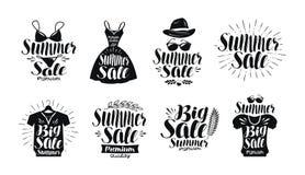 Venda do verão, grupo de etiqueta Forma, boutique, loja de roupa, ícone de compra ou logotipo Rotulação escrita à mão, caligrafia ilustração do vetor
