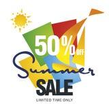 Venda do verão 50 por cento fora do vetor do fundo da cor do veleiro da oferta do disconto ilustração stock