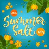 Venda do verão - projeto colorido brilhante da caligrafia com elementos florais ilustração stock