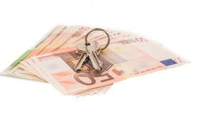 Venda dos bens imobiliários Dinheiro que compra & que vende uma casa Imagem de Stock Royalty Free