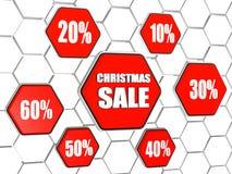 A venda e as porcentagens do Natal em hexágonos vermelhos abotoam-se Fotos de Stock Royalty Free