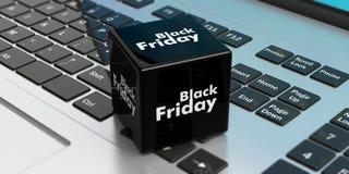 Venda em linha de Black Friday Cubo preto em um portátil ilustração 3D Fotos de Stock Royalty Free