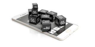 Venda em linha de Black Friday Cubos da venda em um smartphone ilustração 3D Fotografia de Stock