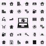 venda em linha do ícone das casas Grupo universal dos ícones dos bens imobiliários para a Web e o móbil ilustração do vetor