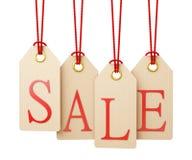 A venda etiqueta a suspensão, isolada no fundo branco Imagens de Stock