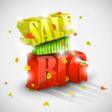 venda grande do outono 3D com folha Imagens de Stock