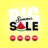 Venda grande do verão com uma parte de melancia Imagens de Stock Royalty Free