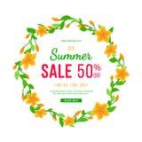 Venda grande 50% do verão FORA Projeto redondo do quadro com uma liana das folhas, dos botões e das flores Bandeira, inseto, conv ilustração royalty free