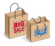 Venda grande dos sacos de compras, lotação esgotada, retalho, disconto de Black Friday, ilustração stock