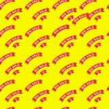 Venda grande e teste padrão sem emenda dos discontos Fita de papel vermelha com texto na ilustração lisa do fundo amarelo Para be ilustração stock
