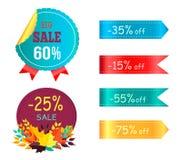 Venda grande 60 35 etiquetas redondas da etiqueta do Promo ajustadas Foto de Stock Royalty Free