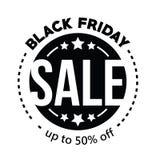 Venda grande na compra preta de sexta-feira na ilustração branca do vetor do fundo Foto de Stock Royalty Free