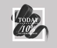 A venda hoje 10 assina fora sobre a escova da arte Aperfeiçoe o projeto para uma loja e bandeiras da venda ilustração 3D Imagem de Stock Royalty Free
