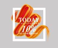A venda hoje 10 assina fora sobre a escova da arte Aperfeiçoe o projeto para uma loja e bandeiras da venda ilustração 3D Fotografia de Stock Royalty Free