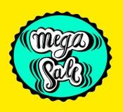 Venda mega do sinal, ícone para sua Web, etiqueta, ícone, projeto dinâmico mínimo Bandeira mega da venda da oferta limitada Carta ilustração stock