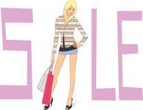 Venda, menina de compra ilustração stock