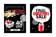 A venda no feriado do Natal, folheto desconta a informação ilustração royalty free