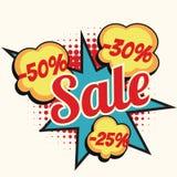 Venda 50 palavra da banda desenhada de um disconto de 30 25 por cento Imagem de Stock Royalty Free