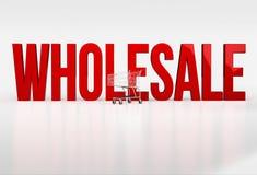 Venda por atacado vermelha grande da palavra no fundo branco ao lado do carrinho de compras Fotos de Stock Royalty Free