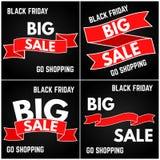Venda preta de sexta-feira Fita de quatro vermelhos em um fundo preto Imagem de Stock Royalty Free