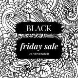 Venda preta de sexta-feira Ornamento a mão livre abstrato do estilo da garatuja Fotos de Stock Royalty Free