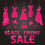 Venda preta de sexta-feira Vestidos de partido cor-de-rosa, acessórios Imagem de Stock Royalty Free