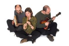 Venda que juega música céltica Imagen de archivo libre de regalías