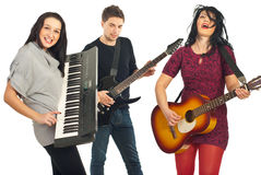Venda que toca los instrumentos musicales Imagen de archivo libre de regalías