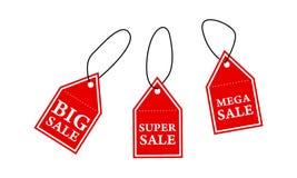 Venda super da venda grande e etiquetas mega da venda ilustração royalty free