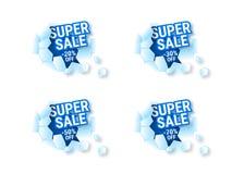 Venda super do inverno da etiqueta com desconto de 20% 30% 50% 70% ilustração royalty free