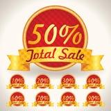 A venda total brilhante colorida etiqueta com o texto da venda. pontas da ilustração para a arte finala do negócio Fotos de Stock Royalty Free