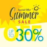 Venda V ajustado do verão projeto amarelo do título de 2 30 por cento para o banne ilustração royalty free